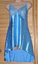 Schöner satin babydoll kurzes höschen silky nachthemd,14/16 Größebnaquamarinblau