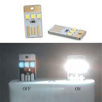 Portable LED Night Light Card Lamp Keychain White Pocket Mini USB Power 2PCS