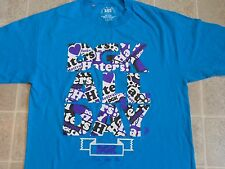 Used DGK All Day Print In Letters T-SHIRT Mens L Blue I Love Haters Motivation