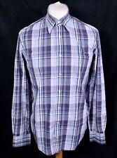 GANT Georgica Poplin Check Shirt L Blue Purple EZ Fit Button Long Sleeve Casual