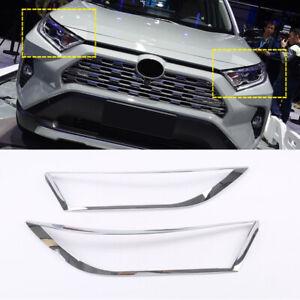 Fit for Toyota RAV4 2019-2021 Chrome Car Front Headlight Light g Cover Trim 2PCS