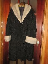 "VTG 1940S Black Persian Broadtail Lamb & Silver Fox Fur Coat ""SPEAR & PICARDI"""