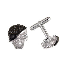 NEW 925 Solid Sterling Silver & Stone Set Skull Cufflinks