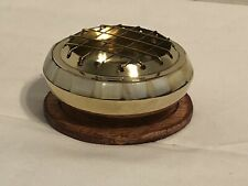 NEW! Brass resin burner With Mother Of Pearl Accents and free resin Sample.