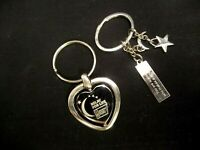 LOT OF 2 RELAY FOR LIFE KEY RING CHAIN FOB AMERICAN CANCER SOCIETY SILVER TONE
