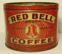 Vintage 1930s RED BELL COFFEE TIN 1 ONE POUND GRAPHIC COFFEE TIN CLEVELAND OHIO