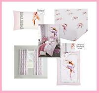 Catherine Lansfield Ballerina Pink Duvet Set Reversible Bedding Curtain Sheet