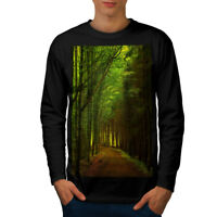 Wellcoda Forest Path Photo Mens Long Sleeve T-shirt, Nature Graphic Design