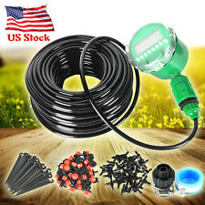 25m DIY Auto Timer Plant Self Watering Drip Irrigation Dripper Hose Micro System