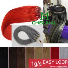 """Micro Loop Ring Bead Human Hair Extensions Black Gray Brown Blonde 16""""-26"""""""