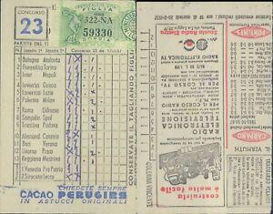 R@R@ SCHEDA TOTOCALCIO 13 PARTITE+2 RISERVE CONC.N.23 DEL 17/02/1957 VALIDATA