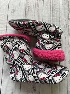 Hello Kitty Boot Slipper Medium/Large Black , White, Pink Plush Lining