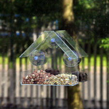Glass Window Viewing Bird Feeder Hotel Table Seed Peanut Hanging Suction Plastic