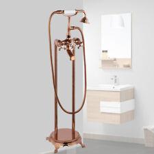 Rose Golden Bathroom Floor Free Standing Bathtub Mixer Tap Shower Faucet Set