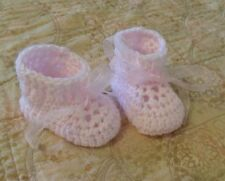 BABY SHOES HANDMADE CROCHET 0-3 MONTHS Pink by ROCKY MOUNTAIN MARTY