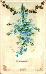 Bluebell flowers in remembrance Embossed vintage postcard Divided Back 1911