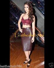 Sexy Skirt New Genuine Lambskin Burgundy Leather Women Pencil Party Wear 149