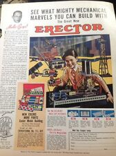 N1-6 Ephemera 1935 Folded Advert Erector Model Building Kit U S A