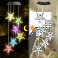 6 LED Solar Powered Star Shape Wind Chimes Light Outdoor Garden Hanging Lamp