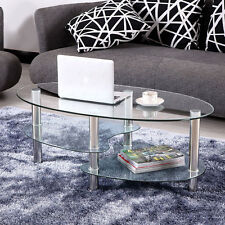 Tempered Glass Oval Side Coffee Table Transparent Round Living Room Furniture