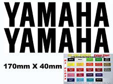 Yamaha pair vinyl cut sticker decals for the tank, Race fairing etc 170mmx40mm