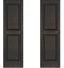 SET of 2 Exterior Shutters 14 x 47 Vinyl Raised Panel Wood Grain Textured BROWN