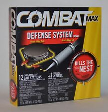 COMBAT MAX DEFENSE SYSTEM ROACH KILLING BAIT GEL 12  STATIONS SYRINGE KILLS NEST