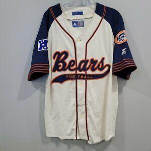 Rare Vintage 90s Starter NFL Chicago Bears Script Baseball Jersey Mens L
