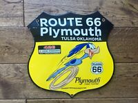 """Vintage Plymouth route 66 Road Runner Heavy Porcelain Sign Hemi 426 12"""""""
