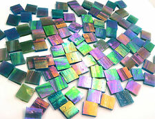 "110 Mosaic Tiles 1/2"" Peacock Metallic Iridescent Blue Green Stained Glass"