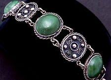 Vintage Peru Mexico Mexican 900 Silver Green Stone 1930s Bracelet 20377