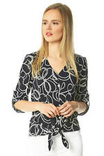 Rope Puff Print Tie Front 3/4 Length Sleeve Button Blouse Women Roman Originals