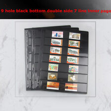 10 Sheet of Stamp Stock Page (7 Strips) & 9 Binder Holes Black & Double Sided