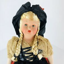 "Vintage Celluloid & Cloth Doll 18"" Ethnic German Girl Hand Painted Face France ?"