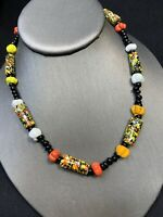 Bohemian Multi  Color Art Glass Beaded SLength Necklace
