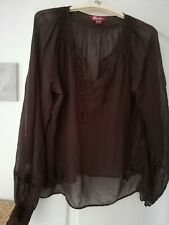 Brown Sheer Blouse 12 By Monsoon