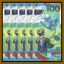 Russia 100 Rubles x 5 Pcs, 2018 FIFA World Cup Soccer Football P-New Unc