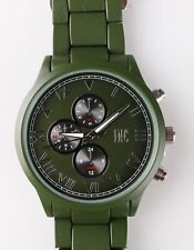 I.N.C. Men's Matte Olive Green Silver Faux Sub Dials Link bracelet watch 42mm