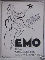 PUBLICITÉ 1943 EMO BAS CHAUSSETTES SOUS-VÊTEMENT - ADVERTISING