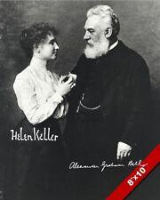 HELEN KELLER & ALEXANDER GRAHAM BELL SIGNATURE CANVAS GICLEE POSTER ART PRINT