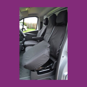 Renault Trafic 2014+ Front (Folding Seat) Tailored Waterproof Black Seat Covers