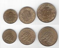 CAMEROON 3 DIF UNC COINS SET 5 - 25 FRANCS 1961-65 YEARS