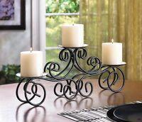 black Tuscan Scrollwork CANDELABRA 3 pillar Candle holder long table centerpiece