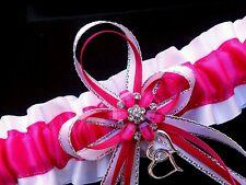 Fuchsia Pink White Satin GARTER TOSS Prom Wedding Bridal Fushcia Double Hearts