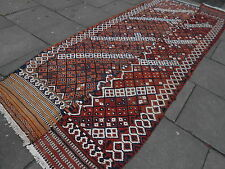 Old Traditional Hand Made Persian Oriental Brown Wool Cotton Kilim 383x138cm