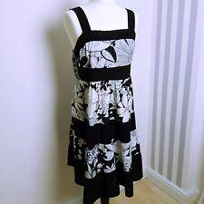 Kushi black white high waist sleeveless cotton summer holiday beach dress 14