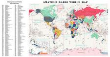 XXL Radio Amateur carte du monde avec radio préfixes et CQ zones Satin Photo Papier -