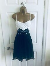 Lipsy Black & White Leather Chiffon Sz 10 Fit & Flare Sexy Party Mini Dress £70
