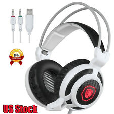 Sades USB 3.5mm 7.1 Surround Sound Stereo Gaming Headphones Microphone LED