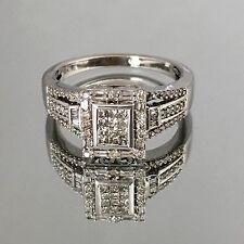 $3,000 1.00CT NATURAL MULTI CUT DIAMOND CLUSTER RING 10K WHITE GOLD